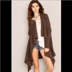 Free People Brown Waterfall Cardigan S EUC